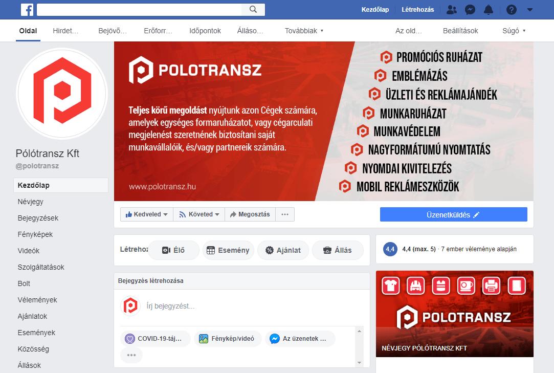 Facebook Arculat Pólótransz